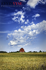 Red Barn (Kevin Vyse Photography) Tags: red barn farm rural landscape field soybean sky clouds land kvphotography photography picture image interesting canada ontario summer fall 2012