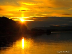 Stunning Sunset (B4bees) Tags: autumn sunset reflection water yellow photography gold golden scotland pier twilight sundown seasonal picture hills photograph shore excellent ripples distance kinross lochleven lochlake brianforbes brianforbesphotography