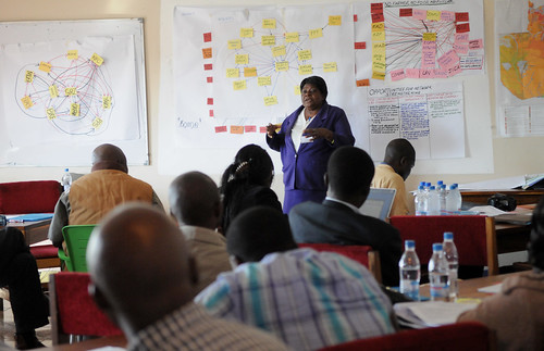A network mapping exercise at the AAS Barotse Hub Roll-Out workshop, Zambia. Photo by Georgina Smith, 2012.