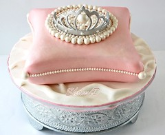 Cushion and Tiara Cake (~Trs Chic Cupcakes by ShamsD~) Tags: pink white vintage silver pearls satin fondant tiaracake shamsd pillowcake cushioncake shamimadesai