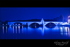 Avignon, Le pont (Christian Picard) Tags: city bridge blue light france reflection tourism night river pose french photography photo nikon europe photographer photographie natural dusk lumière christian bleu reflet pont crépuscule avignon nuit picard ville tourisme rhone photographe naturel d90 posure christianpicard
