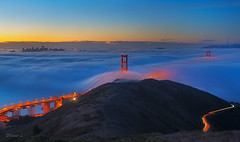 Sea of clouds (Yan Photography) Tags: sanfrancisco longexposure bridge sunset fog night sunrise lights nikon goldengatebridge goldengate marinheadlands hawkhill slackerhill 1424mm