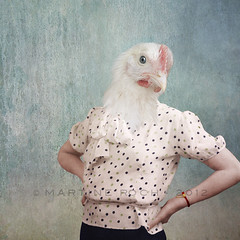 Mademoiselle Poulette (Martine Roch) Tags: pink portrait cute bird chicken animal lady square adorable surreal chick photomontage martineroch flypapertextures