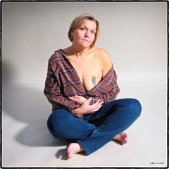 Country Girl at Heart (funkygreeneyedlady) Tags: woman color sexy beautiful shirt pose cross bbw country over sensual jeans mature mens 40 legged naturalwoman bbwmodeling
