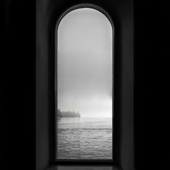 """Window"" (helmet13) Tags: leicadlux3 bw archedwindow silence landscape emptiness lakebodensee aoi peaceaward simplicity"
