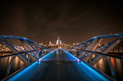 Quiet on the Thames (Scott Baldock Photography) Tags: city uk nightphotography bridge blue urban reflection london art church station saint st thames museum architecture modern night reflections river lights vanishingpoint globe nikon long exposure neon cathedral theatre tate stpauls millenium pauls millennium barbican southbank borough neo tamron vanishing riverthames southwark bankside se1 cityoflondon lightroom ec4 londonarchitecture blackriars cityarchitecture