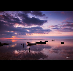 The Calm (EddyB) Tags: espaa sunrise boats reflex spain nikon europa europe catalonia reflected amanecer reflejo catalunya barcas catalua espanya deltadelebre eddyb d300s labandadelcharco sigma1020mmaff456exdchsm