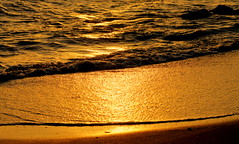 Golden reflection of sunset light on the beach (ᗰᗩᖇᓰᗩ ☼ Xᕮ∩〇Ụ) Tags: sunset sunlight sonnenuntergang reflection spiegelung sonnenlicht sea mittelmeer mediterranean griechenland spiegelungen beach summer sommer water wasserspiegelung wasser ελλαδα μεσογειοσ στιγμεσ χρωματα χρυσαφι φωσηλιου ηλιοβασιλεμα closeup θαλασσα ηλιοσ αμμοσ παραλια κοντοβραδο motion gold abstract wow