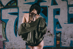 We can be heroes (nash_garden) Tags: woman black green hair back mujer grafitti military negro modelo jacket tatoo tatu pelo tatuaje bavk