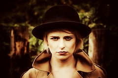 You didn't know and you certainly didn't understand (sophie_merlo) Tags: model models girl woman sexy blonde hat bowlerhat fashion style autumn fall seasons sad unhappy moody memories bitterness people red orange