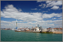 Leaving Portsmouth (and the clouds) behind...... (Jason 87030) Tags: chimes pompey portsmouth harbour england ferry iow solent sea sky clouds summer hols holiday 2016 spiniker sphincter skyline goodbye view landscape coast ocean town city unitedkingdom greatbritain blue architecture