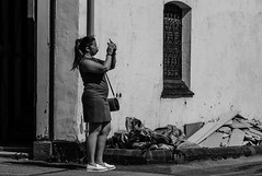 Taking A Selfie (IAN GARDNER PHOTOGRAPHY) Tags: woman street selfie streetphotography monochrome blackwhite blackandwhite
