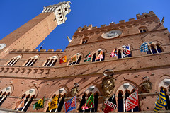 Siena - Palio (anto_gal) Tags: toscana siena 2016 citt palazzo comune torre mangia bandiere palio contrade