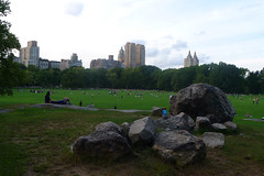 The Great Lawn - Central Park (Cagsawa) Tags: centralpark greatlawn lawn grass acre field rock boulder building urban park city ny nyc newyork sky outdoor tree green lx5 dusk