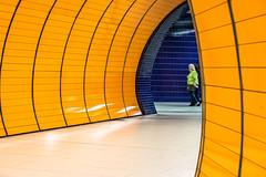 Don`t pass me by (*Capture the Moment*) Tags: 2016 bokeh dof farbdominanz fotowalk munich mnchen sonya7ii station stationmarienplatz subway ubahn yellow zeissbatis1885 blau blue gelb menschen leute people architecture architektur