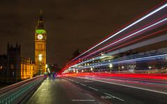 Goes to 11 (carolina_sky) Tags: london britain unitedkingdom westminster bridge doubledecker bus lightstreak light streak clock glow night city spinaltap hellsbells pentaxk1 pentax2470mm england thames