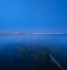 Summer Calmness (winnichip) Tags: calmness blue sea bay water long exposure city night lights rocks rock river lanscape waterscape