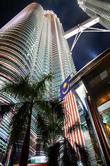 Petronas Towers (AdeyH) Tags: kuala lumpur kl malaysia city urban night skyscraper building architecture lights asia south east flag national