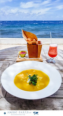 A lunch with a view. Pumpkin soup with crme fraiche et and croutons, and cheese balls with sweet sour chili dip. (Vincent Demers - vincentphoto.com) Tags: abcislands accomodation amriquedusud antilles antillesnerlandaises building btiment carabes caribbean caribbeanisland caribbeansea cheeseballs collation curacao curaao destinationdevoyage destinationtouristique dutchcaribbean dutchcaribbeanisland food historicpietermaaidistrict hotel hbergement iledescarabes kingdomofthenetherlands meal mer merdescarabes neighborhood netherlandsantilles nourriture ocean oceanview ocan photodevoyage photographiedevoyage pietermaai pietermaaidistrict pumpkinsoup quartier quartierpietermaai repas restaurant royaumedespaysbas scubalodge scubalodgeboutiquehotel sea seaview snack soup soupe soupelacitrouille southamerica tourism tourisme travel traveldestination travellocation travelphoto travelphotography trip voyage vuesurlocan vuesurlamer willemstad lunch cw