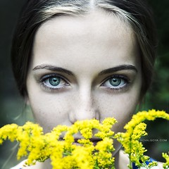 Julia (Noval Goya) Tags: white color nikon flower portrait headshot colored blue 56 girl deep nature d800 sigma 24105 format art camera face forest yellow light eyes 6 million people 6millionpeople