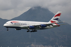 "Airbus, A380-841. G-XLEF, ""British Airways"", VHHH, Hong Kong (Daryl Chapman Photography) Tags: a380841 ba baw britishairways landing arrival 25r ba31 ba031 hongkong china sar hkia clk hkg hongkonginternationalairport cheklapkok canon 5d mkiii is ii 70200l f28 plane planes aviation planespotting departure flight commercialaviation civilaviation great fly flying sky dslr hongkongspotters aviationnut vhhh daryl chapman 151 rr rolls royce"