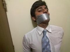gagged boy (sirspankmesir) Tags: boy schoolboy tie gagged suit businessman bondage bdsm fetish silver tape