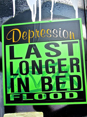 Flood, New York, NY (Robby Virus) Tags: newyork newyorkcity ny nyc manhattan bigapple city flood sticker slap depression last longer bed