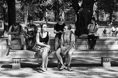 A Sunny Moment (CVerwaal) Tags: benches blackandwhite cellphones centralpark streetphotography newyork ny usa sonyrx100iii sunglasses people