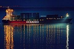 Navigation nocturne... (Lucien-Guy) Tags: bateau cargo boat night nuit oceanex light fleuve stlaurent