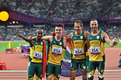 Team South Africa wining gold at 4x100m relay with new WR