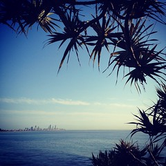 Burleigh Heads (Hueystar) Tags: ocean trees sea holiday beach water smart mobile square gold coast sand phone heads queensland 4s iphone burleigh hipstamatic instagram