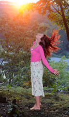 wishful thinking. (allison.johnston) Tags: light sunset me girl self hair ginger colorful barefoot flare redhair hairflip odc shoeless longskirt redhairedgirl allisonjohnston 257366 ourdailychallenge omgsoguys iwasgoingupinthewoodstogoshootthis andallofasuddenifound3deerandihadapanicattack itwassotraumatic