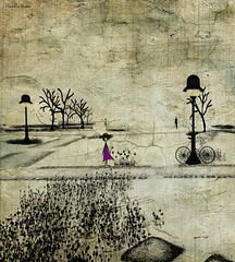 The girl with purple dress (HivaOa Insoo) Tags: flowers tree texture fleur landscape sl secondlife sim hivaoa pixelmator hivaoainsoo distressedjewell cicaghost lea13