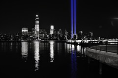 nikon d5100 in-camera selective color: columns of blue lights --------- viewed 380x (norlandcruz74) Tags: world city nyc blue light usa white ny newyork black color nikon downtown manhattan 911 columns center 11 september cruz coloring wtc tribute remembrance trade 2012 selective incamera norland d5100