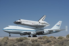 Endeavour Atop SCA Lands At Edwards (ED12-0316-13) (NASA HQ PHOTO) Tags: ca usa nasa edwards spaceshuttle flyover edwardsairforcebase jimross 747shuttlecarrieraircraftsca drydenflightresearchcenterendeavour
