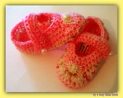 crochet baby pink slippers (a busy little hook) Tags: baby handmade crochet slippers