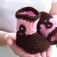 Pink and Brown Crochet Cowgirl Boots (the Prairie Cottage) Tags: pink baby shoes crochet newborn babyshoes slippers booties cowboyboots chocolatebrown puddintoes