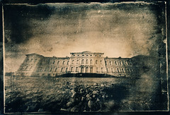 The palace, toned (batuda) Tags: watercolor tea pinhole d76 6x9 toned cyanotype cardboardbox altprocess glassplate rundale herlitz