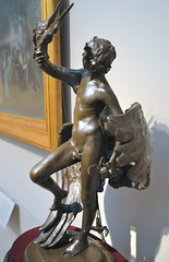 Frederick William MacMonnies (1863-1937) - Young Faun with Heron (1889-90), front left - Metropolitan Museum of Art, New York, Sep 2012 (ketrin1407) Tags: sculpture heron statue bronze youth naked nude energy figleaf statuette faun frederickmacmonnies