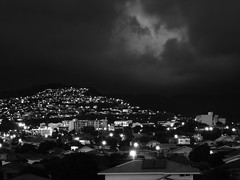 Kaimuki and St Louis Heights at night (Guy: Jussum Guy) Tags: blackandwhite mountains monochrome clouds hawaii oahu honolulu palolovalley kaimuki stlouisheights panasonicdmczs3