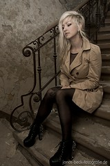 Waiting on Stairway (Jonas Beck Fotografie) Tags: berlin abandoned girl stairs beige fotografie place boots beck secret coat gothic goth ruin rusty treppe blonde shooting jonas crusty treppenhaus querformart