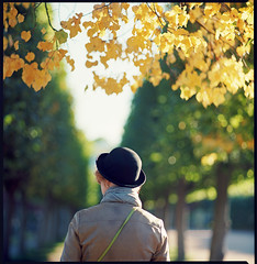 The Hat (Denis Allbertovich) Tags: autumn color green 6x6 film nature girl hat yellow mediumformat dof kodak bokeh epson leafs kiev88 ektar v700 autaut kaleinar