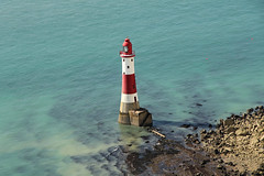 Beachy Head - East Sussex (England) (Meteorry) Tags: uk greatbritain red sea england cliff mer lighthouse white english beach nature rouge sussex chalk europe unitedkingdom britain turquoise stripes september erosion explore eastbourne british falaise plage blanc phare eastsussex depth beachyhead 2012 redandwhite headland meteorry