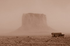 The Ghostly Monument (what a view though!) (Duff77) Tags: old wild usa house storm beauty rock skyline sepia landscape utah artwork sand ancient sandstone flickr scenic erosion valley navajo monumentvalley arid 2012 flickraward flickraward5 allnaturesparadise bronzeawardphotographyforrecreationl1