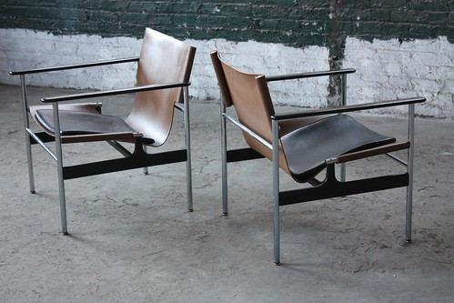 A Perfect Pair Of Charles Pollock Mid Century Modern Leather Sling Chairs  #657 For Knoll