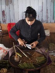 Cheroot Maker (Feldore) Tags: cheroot maker factory making inle lake myanmar burma burmese woman cutting cigars tobacco feldore mchugh em1 olympus 1240mm