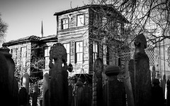 Between life and death - old wooden house (vuralyavas) Tags: ottoman turkish istanbul turkey old architecture architectural blackandwhite bw bnw blackwhite travel life death cemetery grave tomb