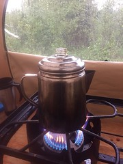 Rainy Days Require Extra Coffee (J.P. EVERETT) Tags: coffee percolator beverage brew brewing rain raining camp camping weir ak alaska chickaloon river