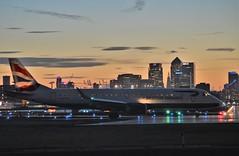G-LCYM (1) @ LCY 25-09-16 (AJBC_1) Tags: londoncityairport eglc lcy flylcy avgeek aircraft airliner aviation plane aeroplane passengerplane transportation transport london eastlondon newham londonboroughofnewham northwoolwich londonsroyaldocks royaldocks uk unitedkingdom civilaviation bacityflyer britishairways embraer erj190 glcym dlrblog ajc airplane england docklands nikond3200 sunset dusk citybuilding cityskyline city