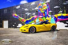 Monicas Vette with Rainbow Woman Mural in HDR From the Right copy (RoryMad Studios) Tags: hdr corvette chevrolet yellow murals shineproject shine stpetersburg florida